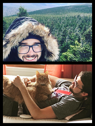 Image of Carter outdoors and an image of Carter with his orange cat.