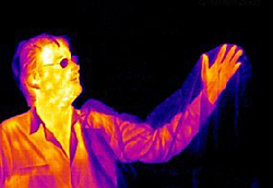 human seen in infrared photo