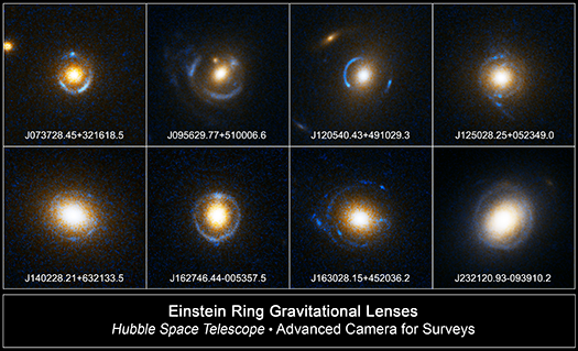 8 Examples of Einstein ring gravitational lenses taken with the Hubble Space Telescope.