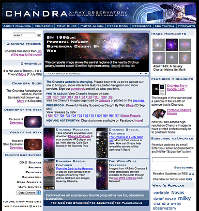 Screen shot of web site