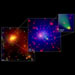 3-Panel Image of Abell 2125, Its Core & Galaxy C153