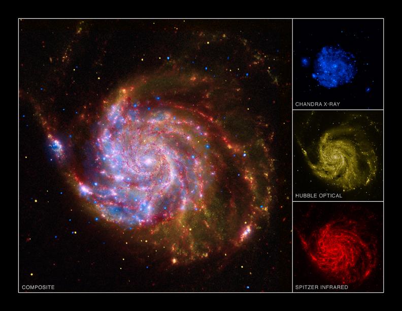 La galaxie M 101 photographiée par trois grands télescopes