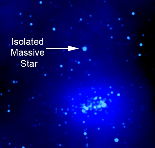 Labeled X-ray image showing massive star location