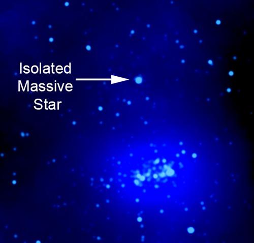 Imagem de raio-X etiquetada mostrando localização em estrela maciça