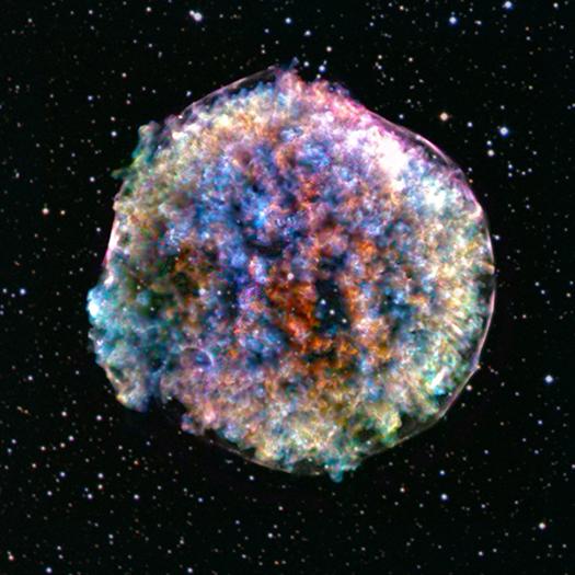 Tycho Supernovaresten der ligner en corona.virus